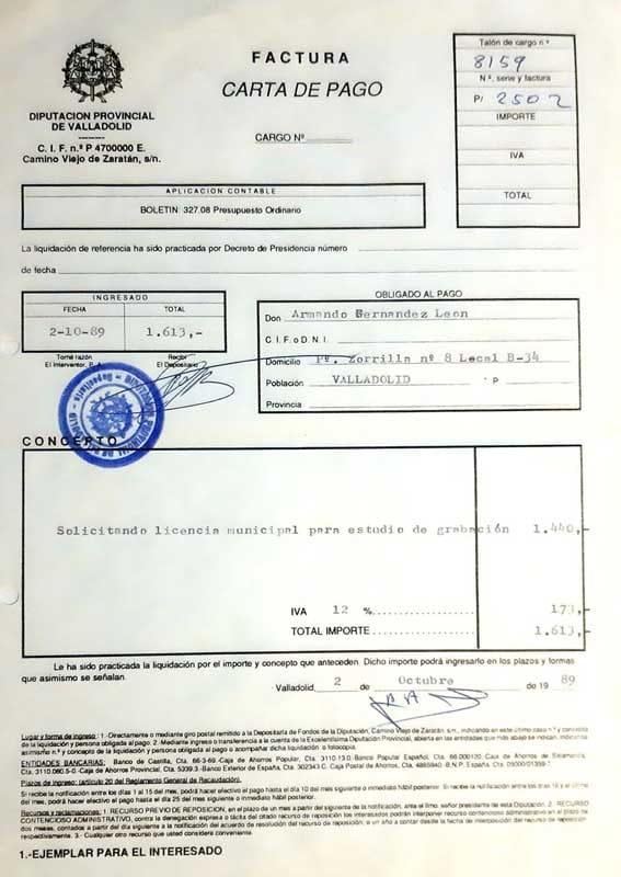 Licencia Apertura Armando Records Valladolid 1989